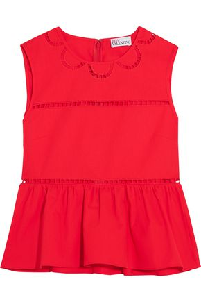 REDValentino Embroidered cotton peplum top