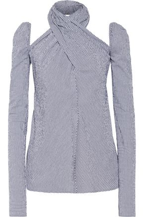 ROSIE ASSOULIN Cutout gingham cotton-blend seersucker top