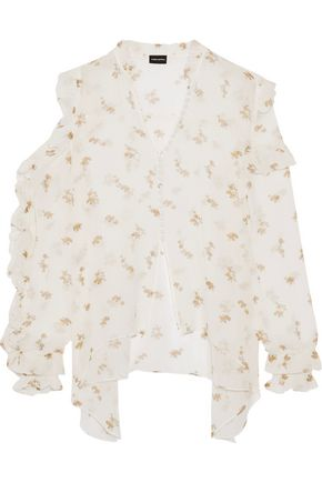 MAGDA BUTRYM Lecce cutout ruffled floral-print silk-georgette blouse