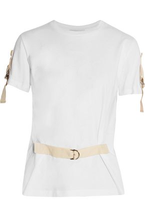 J.W.ANDERSON Buckled canvas-trimmed cotton-jersey T-shirt