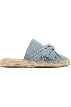 SAM EDELMAN Lynda bow-embellished frayed denim espadrilles
