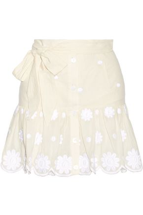 MIGUELINA Emy belted embroidered cotton-voile mini skirt