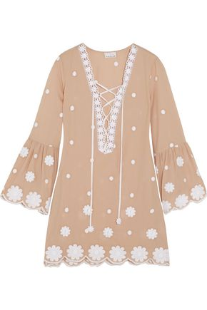 MIGUELINA Laure embroidered cotton mini dress