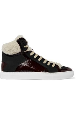 MM6 MAISON MARGIELA Shearling-trimmed patent-leather high-top sneakers