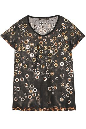 ROBERTO CAVALLI Embellished printed silk top