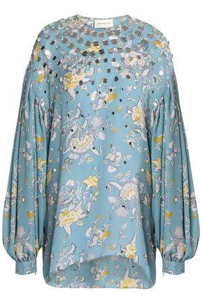 ZIMMERMANN Embellished floral-print silk crepe de chine top