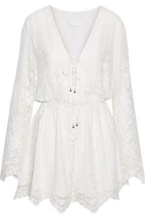 ZIMMERMANN Lace-up embroidered silk-gauze playsuit