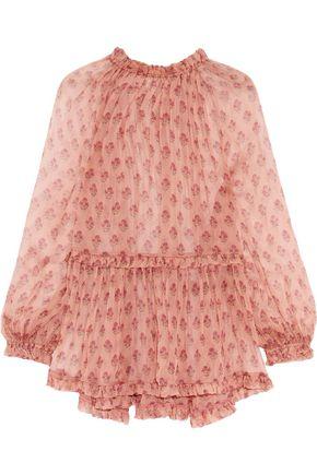 ZIMMERMANN Ruffle-trimmed floral-print silk-chiffon blouse