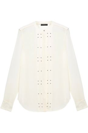 BELSTAFF Darcy studded silk-blend crepe blouse