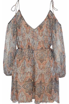 ZIMMERMANN Cold-shoulder printed silk-georgette playsuit