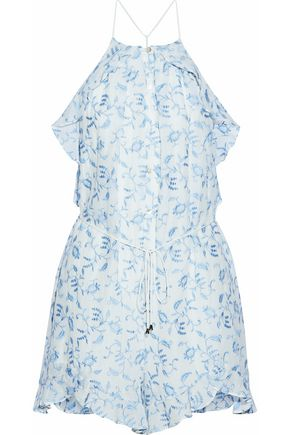 ZIMMERMANN Ruffled embroidered cotton-voile playsuit