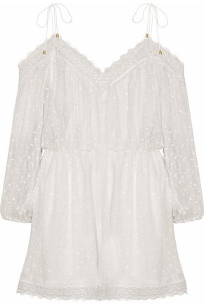 ZIMMERMANN Cold-shoulder lace-trimmed Swiss-dot silk-gauze playsuit