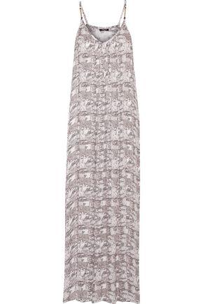 HEIDI KLUM SWIM Ostia Sunrise pleated embellished printed crepe de chine coverup