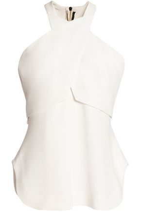 ROLAND MOURET Cross-front paneled crepe top