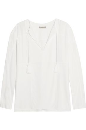VINCE. Tassel-trimmed twill top