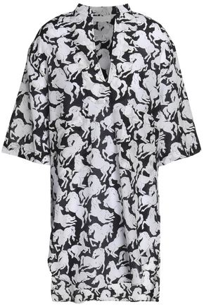 STELLA McCARTNEY Beaded printed cotton and silk-blend voile kaftan