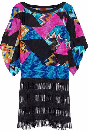 MISSONI Fringed metallic patchwork crochet-knit coverup