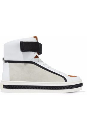 SERGIO ROSSI Zip-embellished leather and suede high-top sneakers