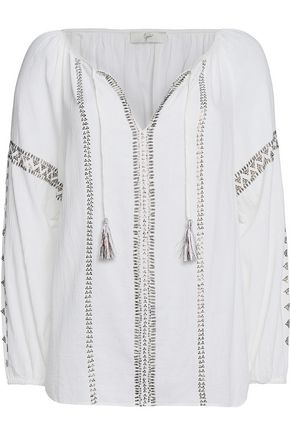 JOIE Melita embellished cotton-gauze top