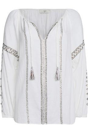 JOIE Melita embellished cotton-gauze top