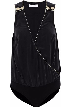PIERRE BALMAIN Wrap-effect silk-crepe bodysuit