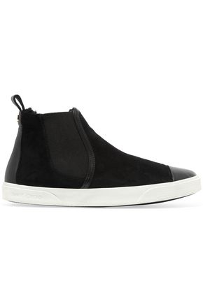 JIMMY CHOO Della leather-trimmed suede high-top sneakers