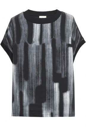 DKNY Printed silk crepe de chine and cotton and modal-blend top