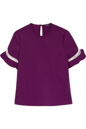 RAOUL Open-knit trimmed cotton-blend top
