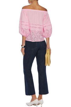 RAOUL Off-the-shoulder lace-paneled crepe de chine blouse