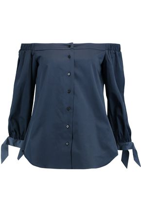 RAOUL Bow-embellished gathered cotton-blend poplin shirt
