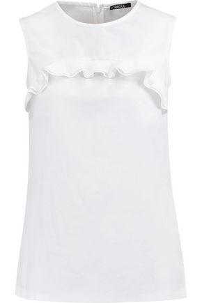 RAOUL Irina ruffle-trimmed cotton-blend poplin top