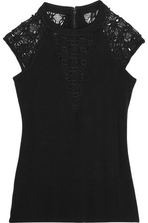 BAILEY 44 Lace-paneled stretch-jersey top