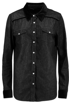 MAJE Velvet-trimmed denim shirt