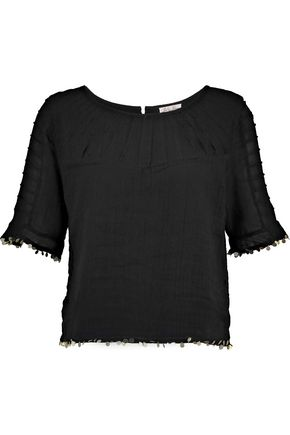 LOVESHACKFANCY Agatha embellished crinkled-cotton top