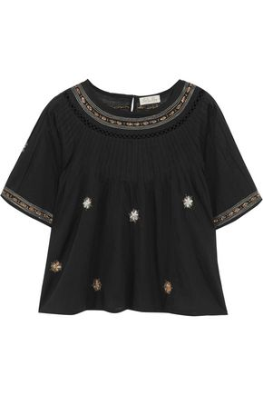 LOVESHACKFANCY Isabella embroidered cotton top