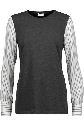 BRUNELLO CUCINELLI Striped silk-paneled cotton-blend jersey top