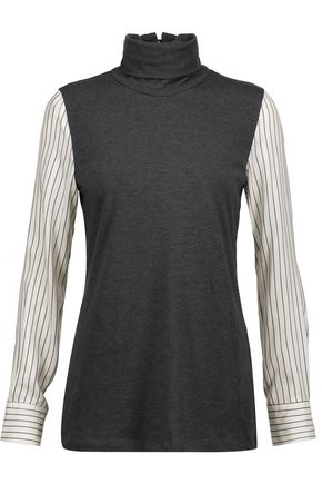 BRUNELLO CUCINELLI Striped silk-paneled turtleneck top