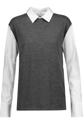 BRUNELLO CUCINELLI Poplin-paneled wool and cashmere-blend sweater