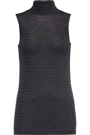BRUNELLO CUCINELLI Striped wool-blend turtleneck top