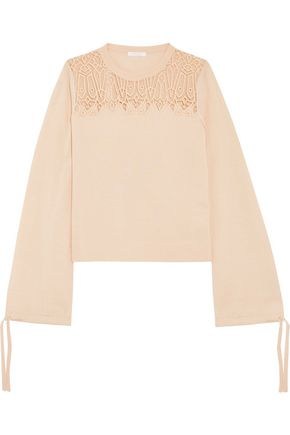 CHLOÉ Guipure lace-paneled wool and silk-blend sweater