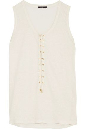 BALMAIN Lace-up linen top