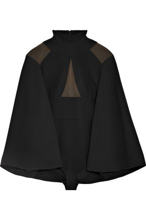 BALMAIN Cape-effect paneled stretch-knit bodysuit