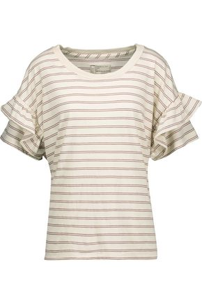 CURRENT/ELLIOTT The Ruffle Roadie striped cotton-blend jersey top