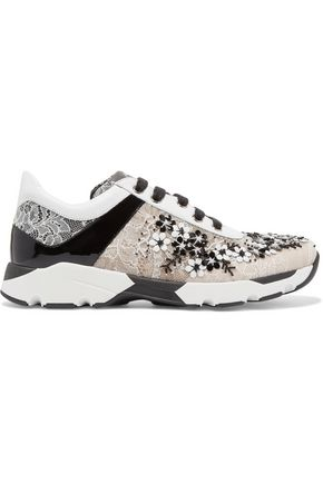 RENE' CAOVILLA Sequin-embellished lace sneakers
