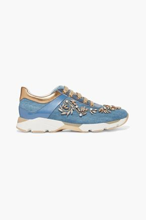 RENE' CAOVILLA Embellished denim sneakers