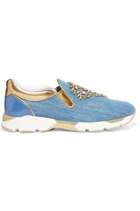 RENE' CAOVILLA Embellished denim and metallic leather slip-on sneakers