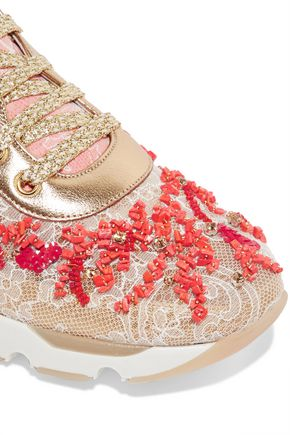 RENE' CAOVILLA Embellished leather and lace sneakers