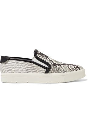 VINCE. Bram python and snake-effect leather slip-on sneakers
