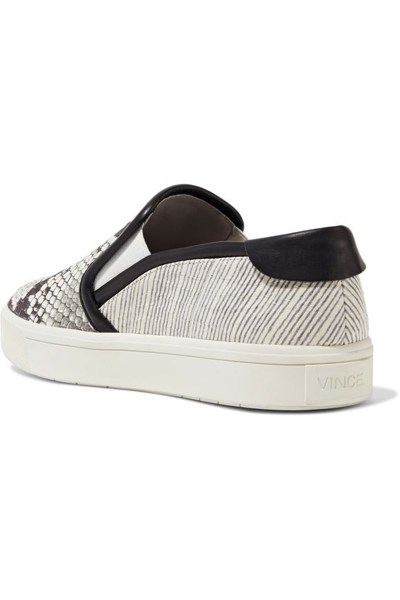 Bram python and snake-effect leather slip-on sneakers | VINCE. | Sale up to  70% off | THE OUTNET