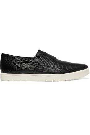 VINCE. Parker lizard-effect leather slip-on sneakers
